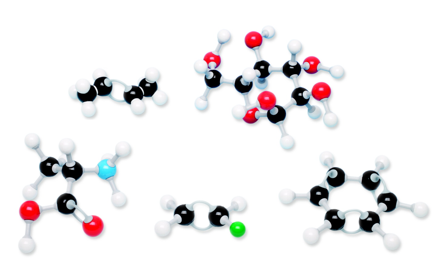 Organic molecules constructed using a molecular model kit